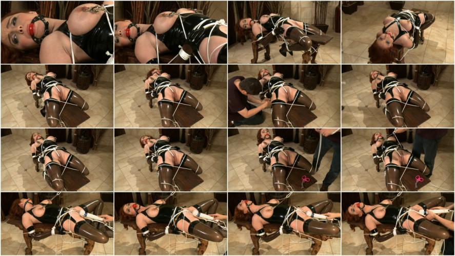 BDSM Latex Tight bondage, domination and torture for sexy slavegirl in latex