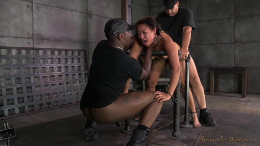 BDSM Tiny 4'11 Tinslee Reagan blindfolded, bend over