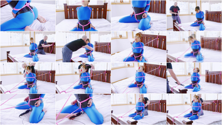 BDSM Bed Bound in Blue Catsuit