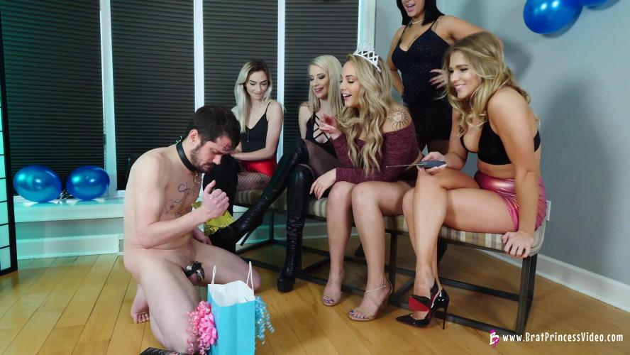 Femdom and Strapon Princess Amber, Nika Venom, Jackie Three Month Chastity Blue Ball Party