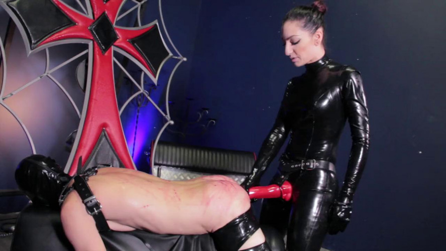 Femdom and Strapon Whipping Slave