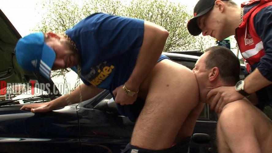 Gay BDSM Chavs Trash A Human Public Toilet