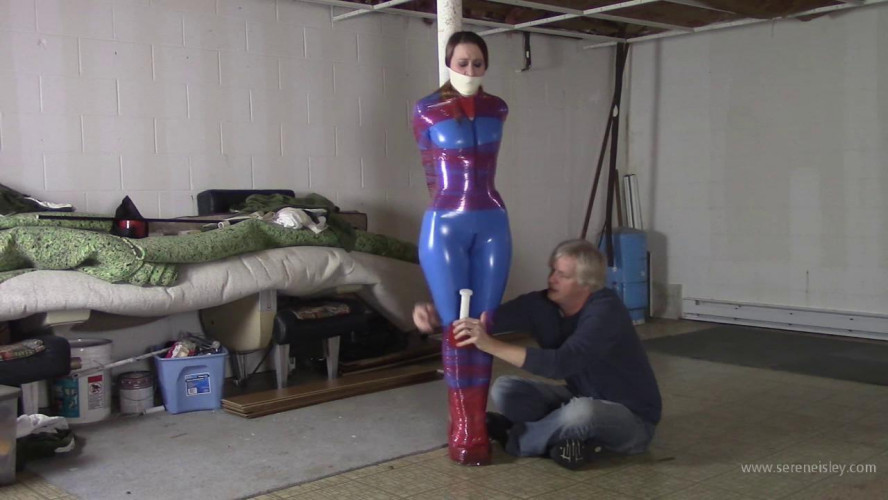 BDSM Latex Serene Isley - Blue Catsuit and Mummified to the Pole