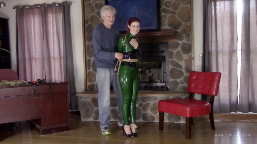 BDSM Latex Constance - Green Latex Catsuit and Jute Rope