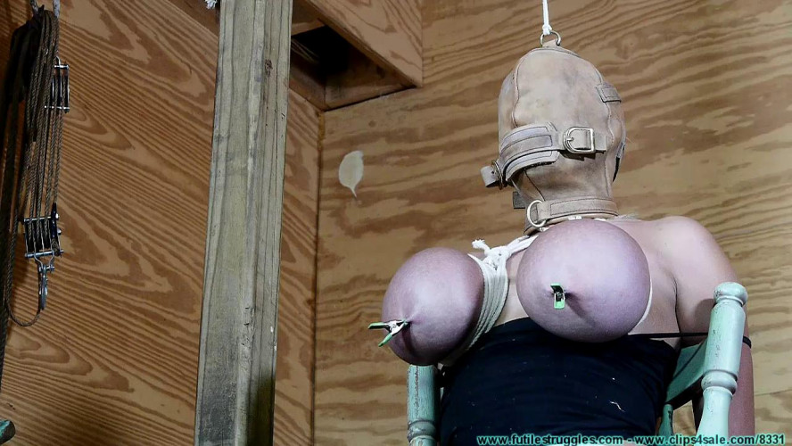 BDSM Katie Thornton Tits Tied Hooded Part 2