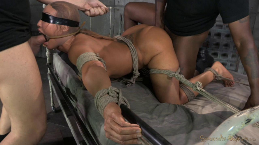 BDSM Giant titted MILF Ava Devine blindfolded bound and fucked roughly by 2 cocks