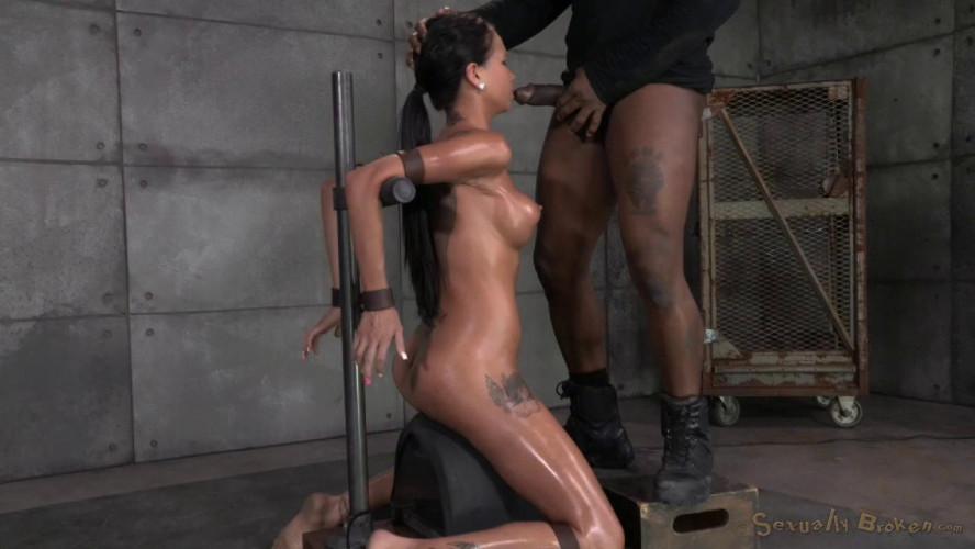 BDSM Raven Bay bound on movable sybian, brutal face fucking, deepthroating!