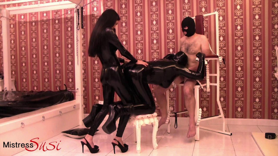 BDSM Latex Rubberdoll is Assfucked While Sucking Cock