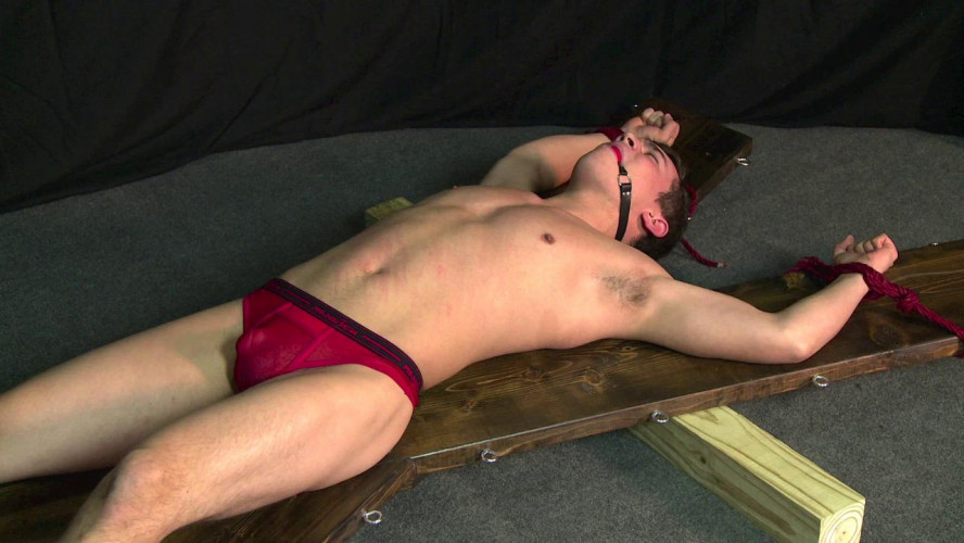 Gay BDSM College boy tied to X-cross and whipped cole vol. 1