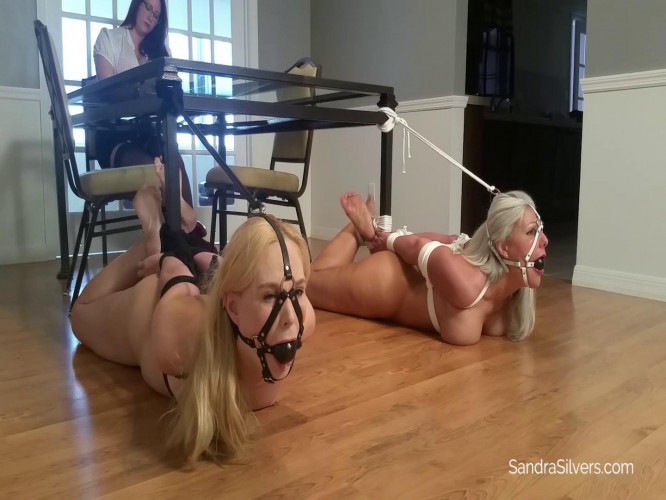 BDSM Naked House Slaves Hogtied and Harness Gagged by Redhead Mistress