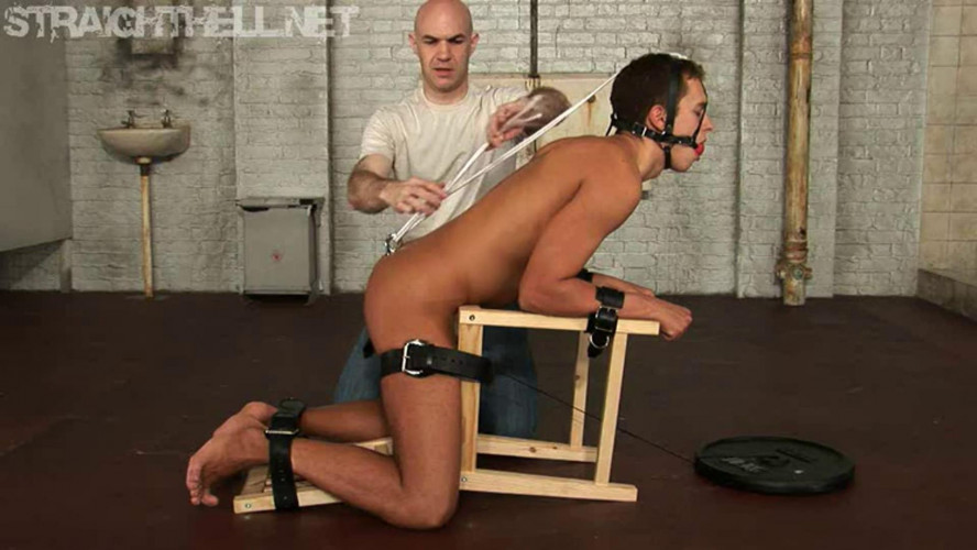 Gay BDSM Held in a stress position with a steel anal hook for Sergei