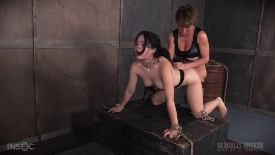 BDSM Yhivi Tied to Box and Fucked From Both Ends By Couple!