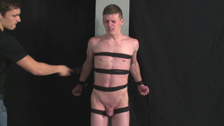 Gay BDSM Roped hottie smacked and eletro-tortured joel vol. 6