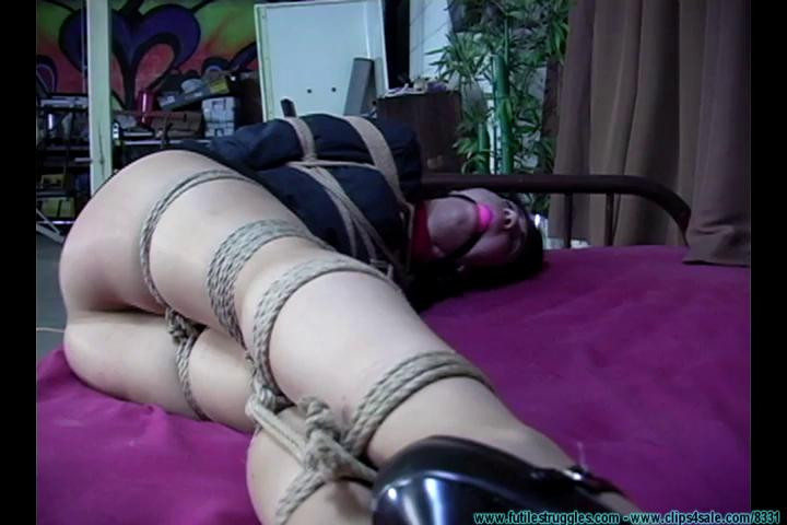 BDSM Secretary Punished with Tight bondage, Gags, crotchrope and clamps - Part 1