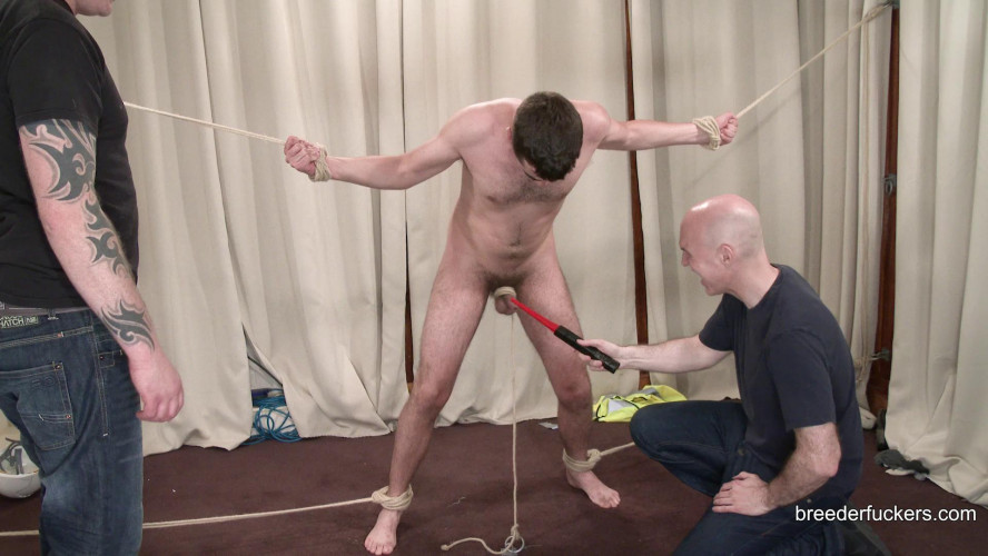 Gay BDSM Alex - Taken from a building site, tied, clothes shredded