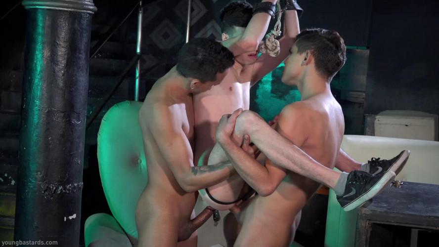 Gay BDSM Two Big Cocks Breed His Raw Hole