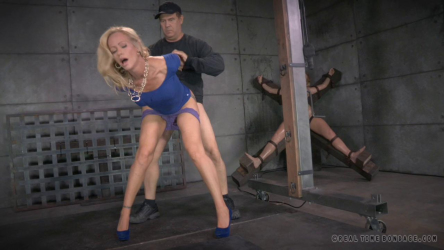 BDSM Simone Sonay worked over hard by 2 cocks, epic deepthroat on BBC