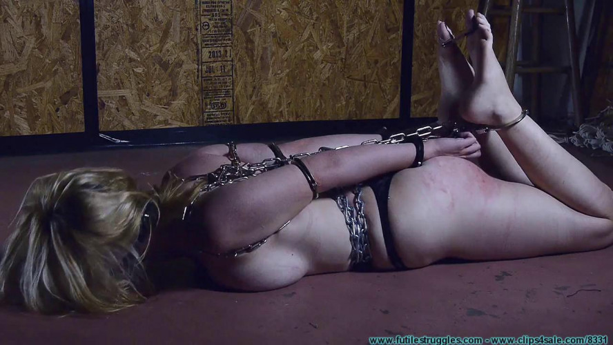 BDSM Allegra HogCuffed, Crotch Chained, then Crotch Roped tight! - Part 1