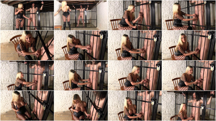 Femdom and Strapon Mistress Nikki Whiplash Sadistic Squeezing For His Big Juicy Balls