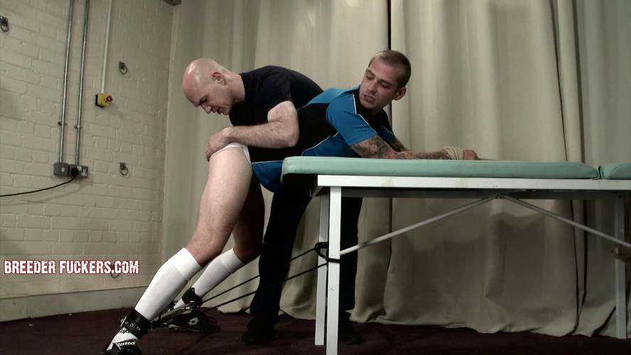 Gay BDSM Aaron - Bound in rugby kit, arse viciously paddled
