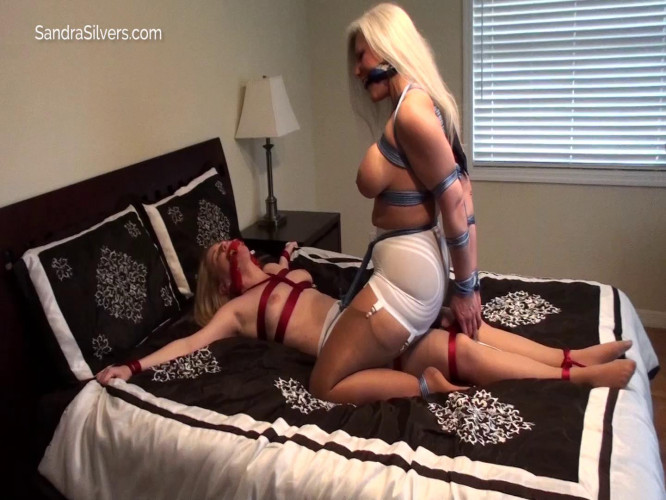 BDSM 2 Tied MILF Lesbians, 1 Spread the other Straddling Her