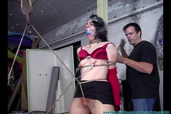 BDSM Secretary Punished with Tight bondage, Gags, crotchrope and clamps - Part 2
