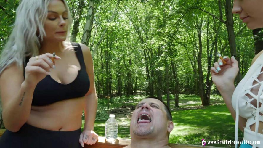 Femdom and Strapon Goddess Becky and Princess Natalya Uses Male For Human Ashtray