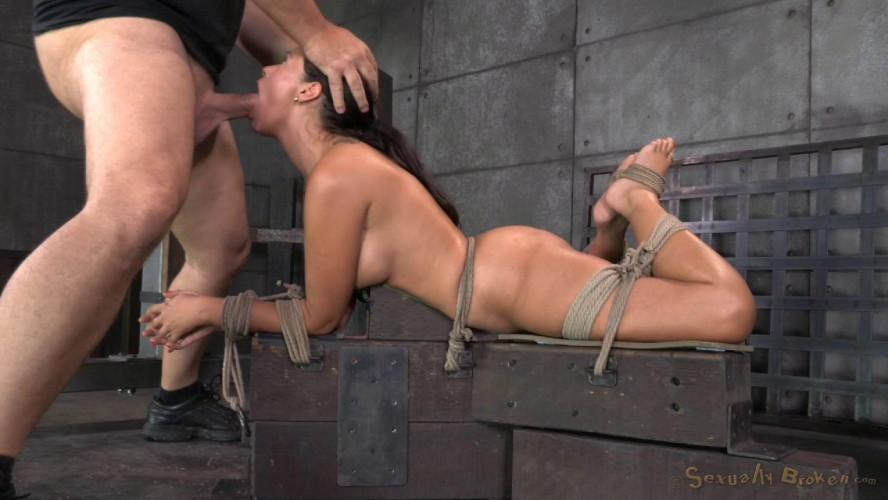 BDSM English rose Ava Dalush bound down on fucking machine