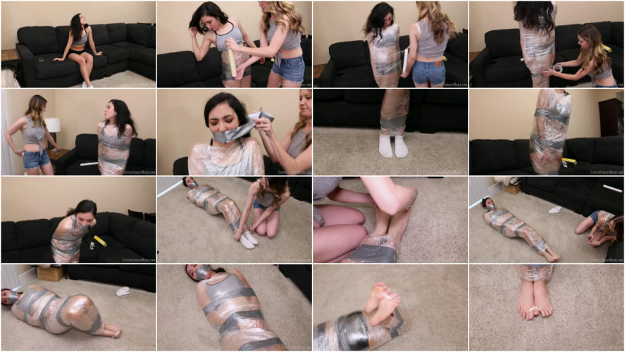 BDSM Bondage, hogtie and mummification for sexy brunette