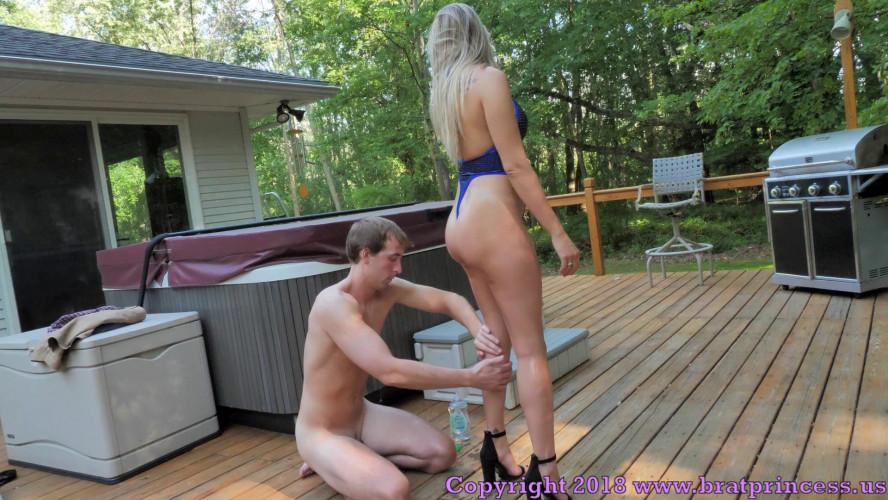 Femdom and Strapon Mia Oil Me For My Boyfriend Chastity Slave