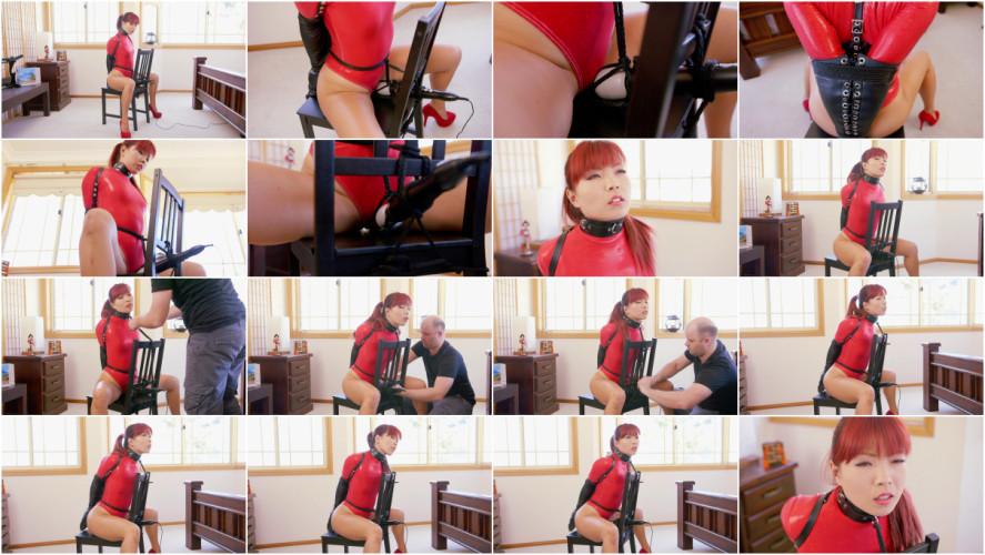 BDSM Chair Bound in Red Thong Bodysuit