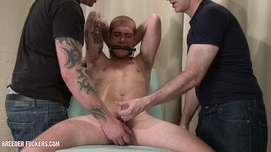 Gay BDSM Aaron - Tied to exam bench, gagged, CBT