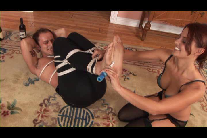Femdom and Strapon Men In Bondage