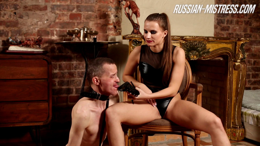 Femdom and Strapon Paula Brown feet licking