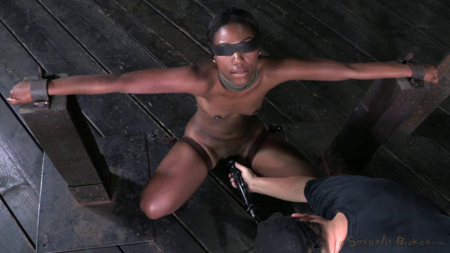 BDSM Teen ebony Chanell Heart fucked and throat trained in strict bondage