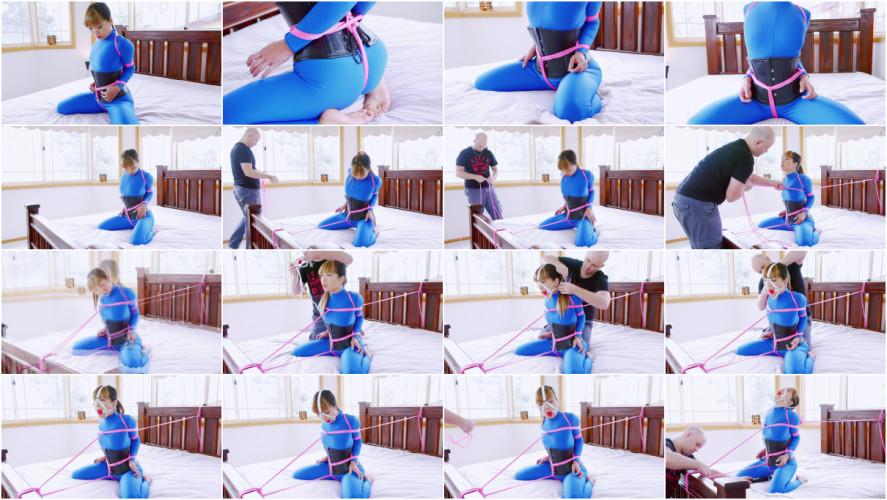 BDSM Mina Bed Bound in Blue Catsuit