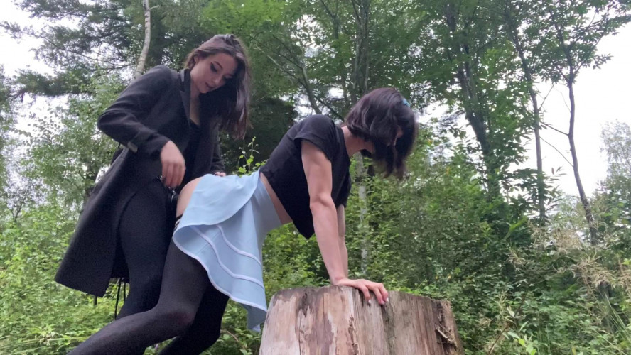 Femdom and Strapon Fucked In The Wood