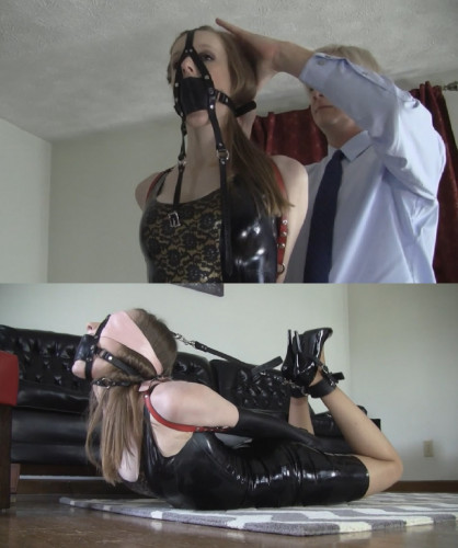 BDSM Latex Super bondage, domination and hogtie for beautiful young bitch