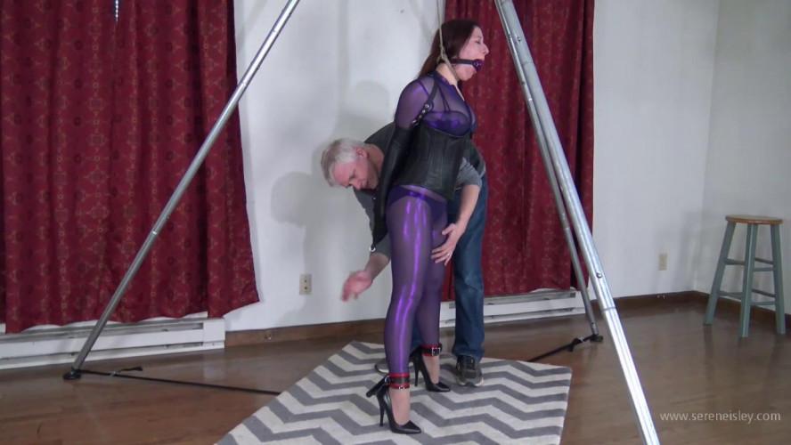 BDSM Gmoras - Tight Purple Catsuit with a Strappado