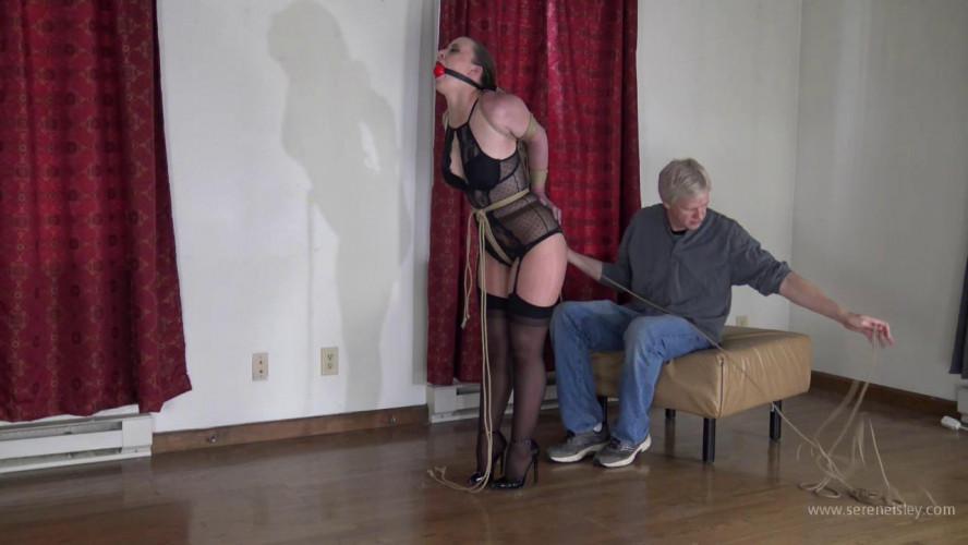 BDSM Serene Isley: Black Lingerie and Jute