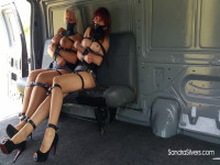 Buxom MOTHER ID LIKE TO FUCK Captives Cuffed, Strapped, Chained In Prison Van