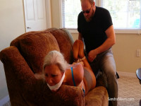 Curvy MOTHER ID LIKE TO FUCK Hogtied & Gagged ON-Screen In Bra, Panties, Pantyhose