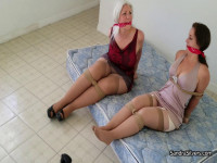 Secretary Duo Bound, Clothes Torn Off, Hogtied And Held Hostage