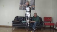 Claire D'Lune – Silver PVC Hobble Dress And Leather Bondage