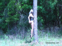 Outdoor Bondage Corseted MOTHER ID LIKE TO FUCK Hogtied Off The Ground, Welded To A Tree