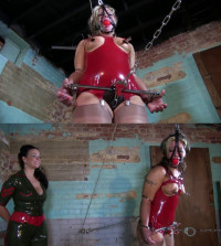 Super Bondage, Strappado And Hogtie For Sexy Blonde In Latex