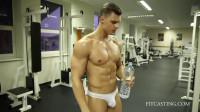 Fitness Model – Lukas G – Posing Workout – White Cotton Bikini Workout