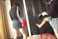 Asian Femdom To Beat A Bound Man Using Boxing Gloves And Kicks