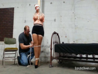 Blindfolded, Poletied MOTHER ID LIKE TO FUCK Captive With Tightly Tied Tits