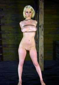 Hot Blond With Huge Natural Tits, Suffers Throat Fucking And Intense Bondage